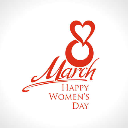 March 8th. Happy Women's Day card. Simple red vector pattern with heart.