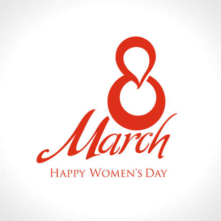 March 8th. Happy Women's Day card. Simple red vector template.