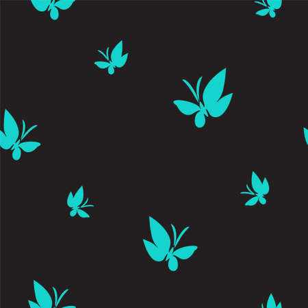 Seamless pattern drawn butterflies. Turquoise moths flutter pattern on black. Simple vector background for design.