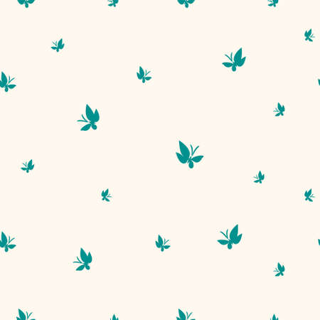 Seamless pattern drawn butterflies. Turquoise moths flutter pattern on light yellow. Simple vector background for design.