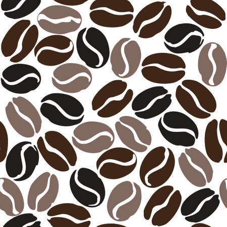 Coffee beans different degrees of coffee roasting seamless pattern. Coffee beans isolated on white. Flat vector template for coffee shop.