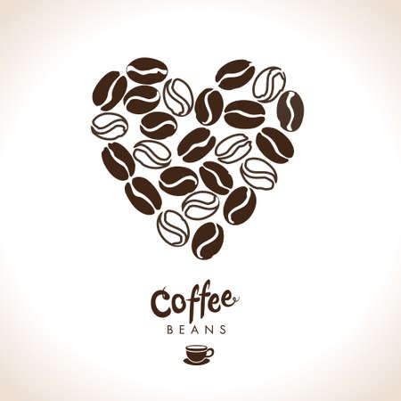 Coffee heart vector. Coffee beans different degrees of coffee roasting. Flat vector template for coffee shop.