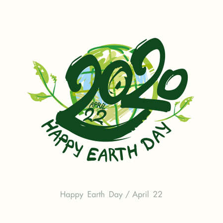 Happy Earth Day 2020. April 22. Painted green planet and handwritten template. Vector illustration. 스톡 콘텐츠 - 142898453