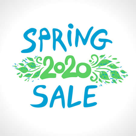 Spring sale 2020. Vector handwritten template to stimulate spring 2020 sales. Vector lettering template. Free inscription.