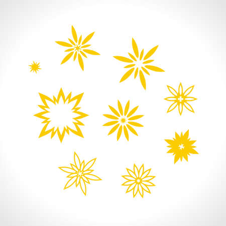Set of flat vector star shape patterns. Different yellow stars rays for design use.