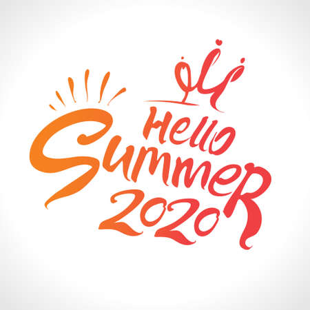 Hello Summer 2020. Vector lettering template. Free inscription with crown princess.