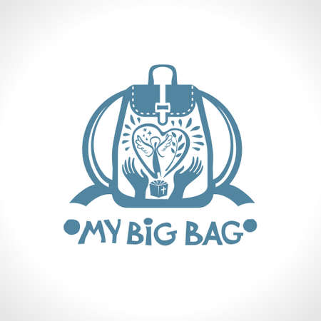 My Big Bag. Vector backpack with a big heart and a spring angel with a green branch in your hands. 일러스트