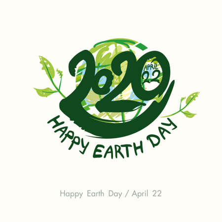 Happy Earth Day 2020. April 22. Painted green planet and handwritten template. Vector illustration.