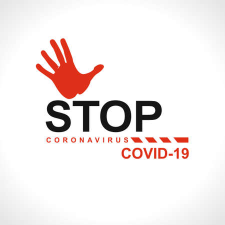 STOP. Coronavirus COVID-19. Big warning inscription biological hazard risk symbol. Vector information banner. 스톡 콘텐츠 - 142961953