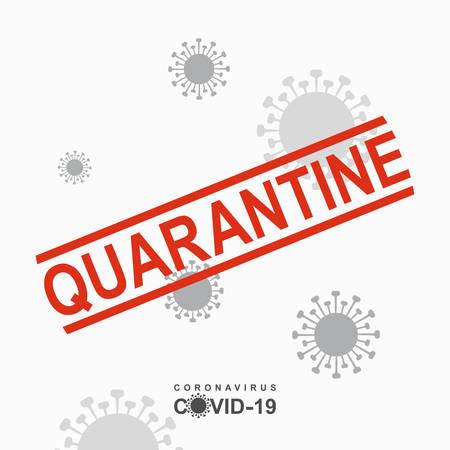 Quarantine Warning inscription biological hazard risk   symbol. Coronavirus COVID-19. Vector information template. 스톡 콘텐츠 - 142961954