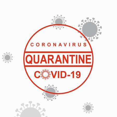 Red vector circle warning stamp. Coronavirus COVID-19. Quarantine Warning inscription biological hazard risk  symbol. Vector information template.