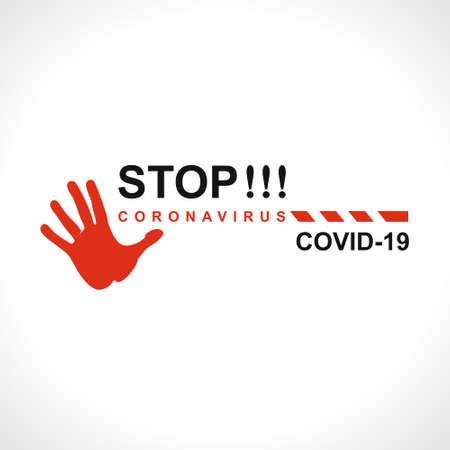 STOP !!! Coronavirus COVID-19. Big warning inscription biological hazard risk symbol. Vector information banner. 스톡 콘텐츠 - 142961965
