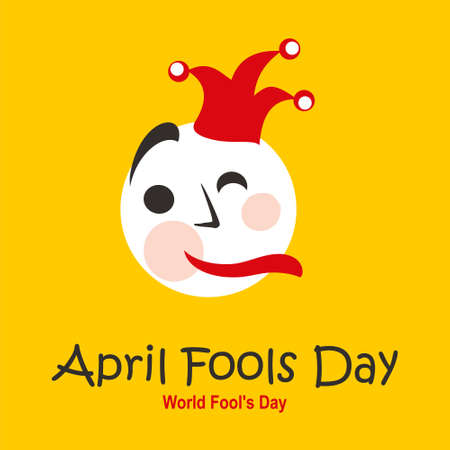 April Fools Day. World Fool's Day. Bright vector banner template with a fool in a hat. Vector template.