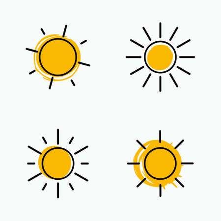 Vector set of suns. Four line art simple two color flat icon solar symbols. 일러스트
