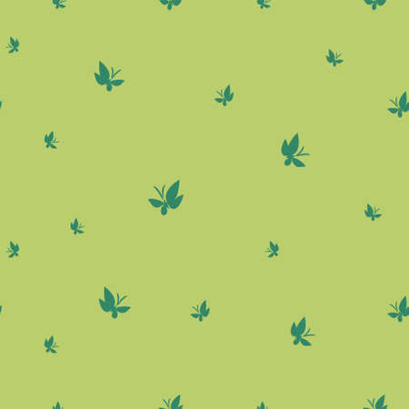 Green butterflies on a green background. Seamless pattern drawn butterflies. Simple vector background for design.