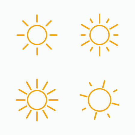 Vector set of suns. Four line art simple flat icon solar symbols. 스톡 콘텐츠 - 144569188