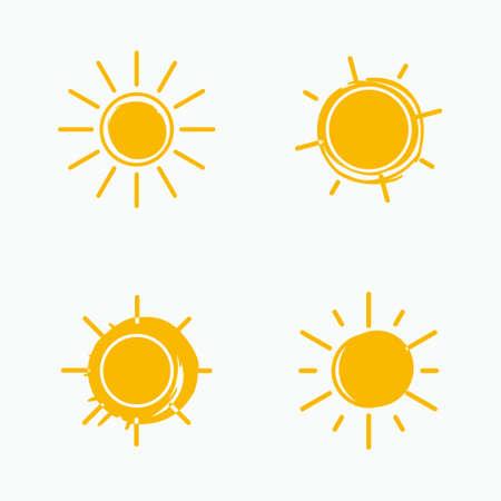 Vector set of suns. Four art simple flat icon solar symbols. 스톡 콘텐츠 - 144862520