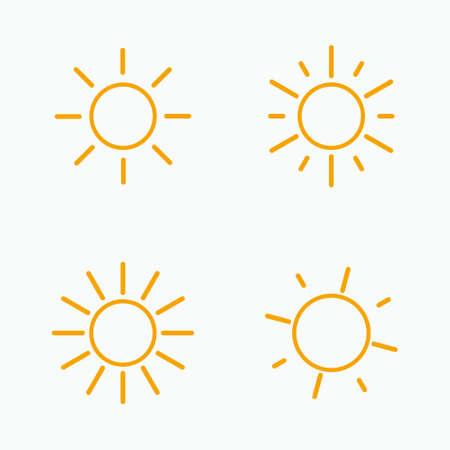 Vector set of suns. Four line art simple flat icon solar symbols.