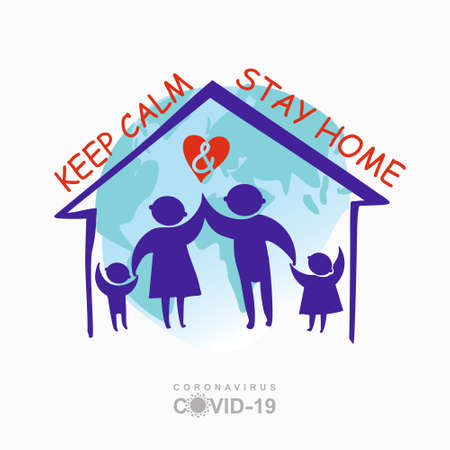 Keep calm and stay home concept vector illustration. Quarantined planet. Family of adults and kids stay at home to reduce risk of infection and spreading the virus. Coronavirus COVID-19. Vector information template.