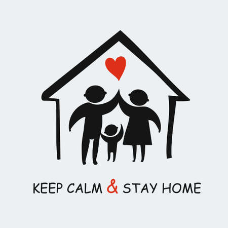 Keep calm & stay home concept vector illustration. Quarantined planet. Family of adults and child stay at home to reduce risk of infection and spreading the virus. Coronavirus COVID-19. Vector information template. 일러스트