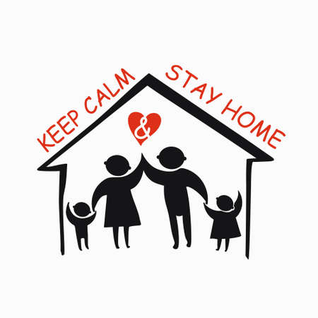Keep calm and stay home concept vector illustration. Family of adults and kids stay at home to reduce risk of infection and spreading the virus. Coronavirus COVID-19. Vector information template. 스톡 콘텐츠 - 145322734