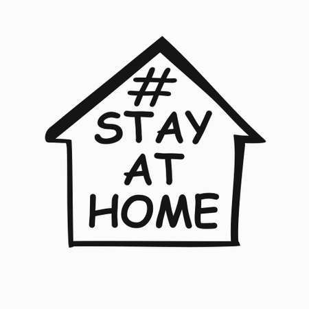 STAY AT HOME concept vector. Conceptual quarantine vector template. Coronavirus COVID-19. Vector information template symbol of the image of the house and lettering.