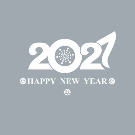 Happy New Year 2020 text design. Flat vector template 2020 with wishes. Postcard design template, calendar, brochure, cover, poster, banner. White symbol on a grayish bluish background. 일러스트