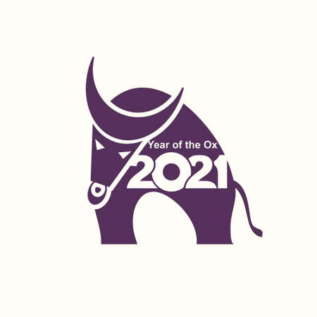 Year of the Ox in Chinese zodiac. Flat stylized buffalo. Symbol of 2021. Vector element for New Year's design in flat style. Illustration of 2021 year of the Ox.