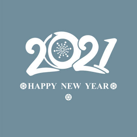 Happy New Year 2021 text design. Flat vector template 2021 with wishes. Postcard design template, calendar, brochure, cover, poster, banner. White symbol on a grayish bluish background.