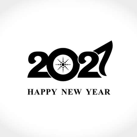 Happy New Year 2021 text design. Flat vector template 2021 with wishes. Brochure design template, card, poster, banner. Black symbol on a light background.