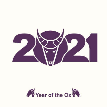 Year of the Ox in Chinese calendar. Symbol of 2021. Vector element for New Year's design in flat style. Illustration of 2021 year of the Ox. 일러스트