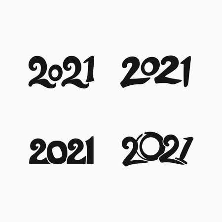 Design 2021 set of four flat vector templates. Figures of the year 2021 in black. Happy New Year.