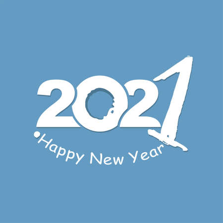 Vector template Happy New Year. White lettering on a blue background. Calligraphy 2021  text design. Handwritten 2021 with wishes vector template. 일러스트