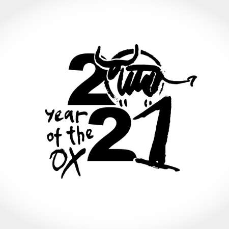 Year of the Ox on the Chinese calendar. Calligraphy symbol of the year 2021. Vector element for New Year's design in flat style. Illustration of 2021 year of the Ox.