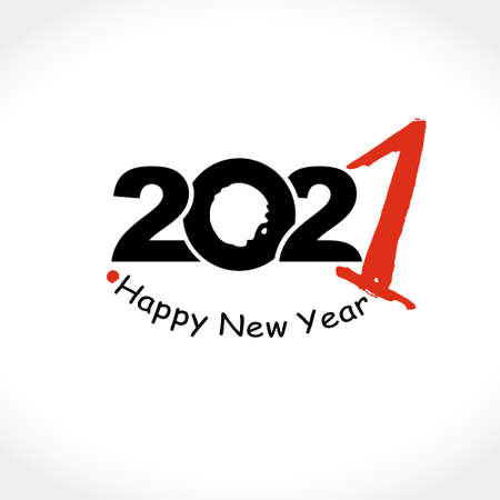2021 Happy New Year text design. Black and red 2021 with wishes vector template. Brochure design template, card, poster, banner.