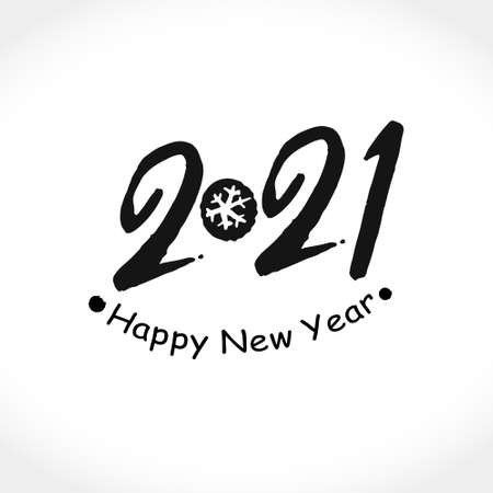 Brush calligraphy 2021 Happy New Year logo text design. Handwritten 2021 with wishes vector template. Brochure design template, card, poster, banner. Black symbol on a light background. Ilustração