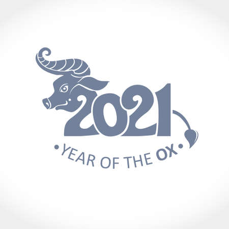 Year of the Ox in Chinese calendar. Vector template for New Year's design in flat style. Illustration of 2021 year of the Ox. Ilustração