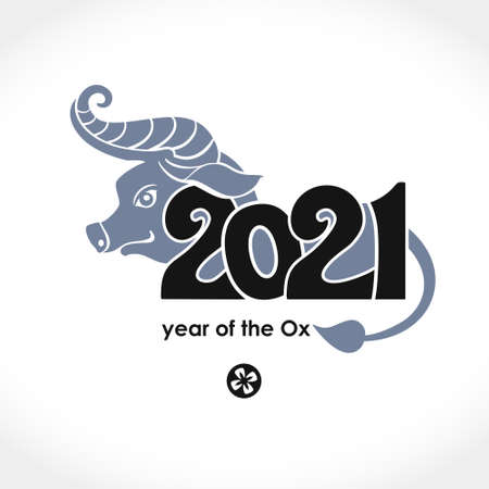 Year of the Ox in Chinese calendar. Chinese New Year card 2021. Vector template for New Year's design in flat style. Illustration of 2021 year of the Ox.