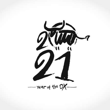 Year of the Ox in Chinese zodiac. Lunar horoscope sign ox, bull, cow. Chinese Happy new year 2021. Black ink brush calligraphy symbol of the year 2021. Vector element for New Year's design in flat sty Ilustração