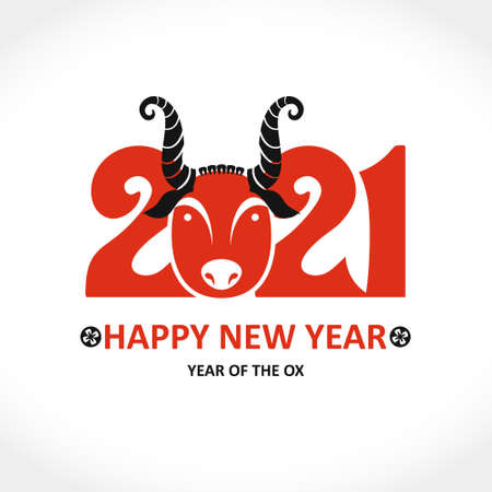 Year of the Ox in Chinese calendar. Card for Chinese New Year. Vector template for New Year's design in flat style. Illustration of 2021 year of the Ox. Ilustração