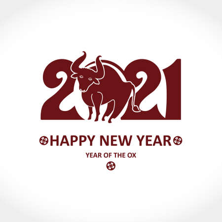 Year of the Ox in Chinese calendar. Card for Chinese New Year. Vector template for New Year's design in flat style. Illustration of 2021 year of the Ox. 일러스트
