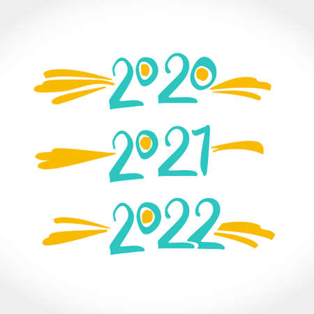 Calligraphy Years text design. Handwritten 2020, 2021, 2022 vector templates.