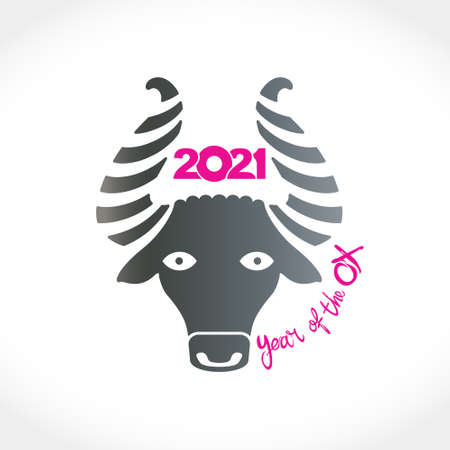 Year of the Ox 2021 in Chinese zodiac. Bull metal head. Vector element for New Year's design in flat style. Illustration of 2021 year of the Ox.