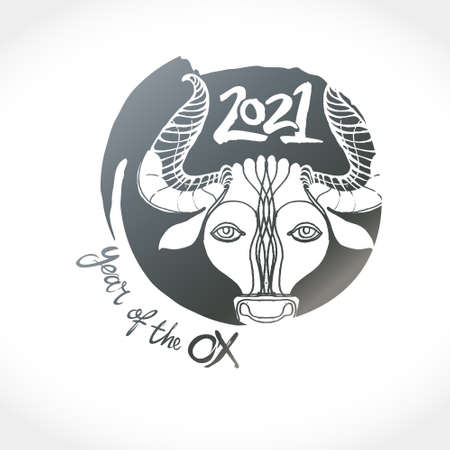 Year of the Ox 2021 in Chinese zodiac. Bull metal head. Vector stamp for New Year's design in flat style. Illustration of 2021 year of the Ox. 일러스트