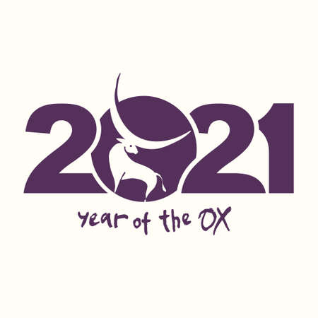 Year of the Ox in Chinese zodiac. Symbol of 2021. Vector element for New Year's design in flat style. Illustration of 2021 year of the Ox. 일러스트