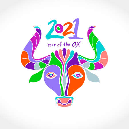 Year of the Ox 2021. Bright multicolored pattern cow head vector illustration. Chinese New Year Greeting Card. Illustration of year of the Ox. Black ink brush calligraphy 2021.