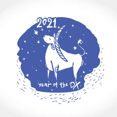 Year of the Ox 2021. Lunar calendar, constellation bull, star cow. Chinese New Year Greeting Card. Illustration of year of the Ox. 일러스트
