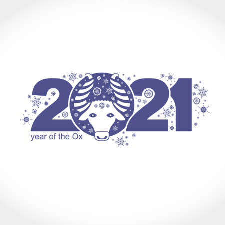 Year of the Ox 2021. Vector template New Year's design on the Chinese calendar. 일러스트