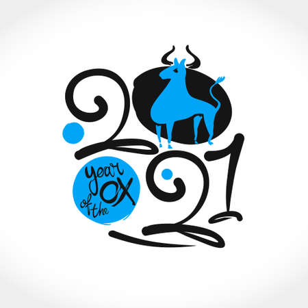 Year of the Ox 2021 in Chinese zodiac. Vector element for New Year's design in flat style. Illustration of 2021 year of the Ox.