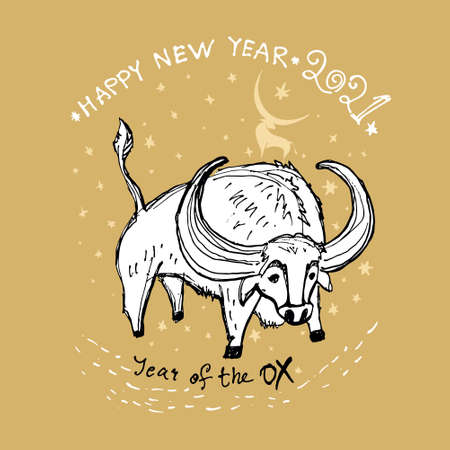 Year of the Ox 2021 sketch vector illustration. Chinese New Year Greeting Card. Huge white bull against the background of the starry sky. Illustration of year of the Ox. Black ink brush calligraphy 20 일러스트